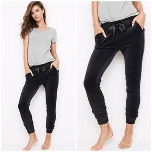 Black Velour Velvet Jogger Sleep Lounge Pants